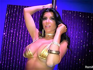 Romi Rain gets nasty on the stripper pillar