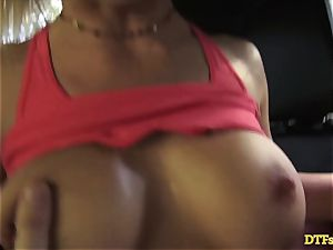 James Deen takes cougar Cherie Deville for a rail on his dick in the car
