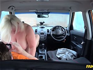 My 50 year aged mother Lacey Starr gets her meaty vag plumbed in the car