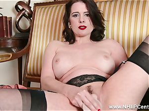 cougar strips off retro underwear playthings nub in nylon stilettos
