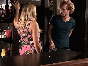 Barmaid Carter Cruise screws her manager at work