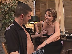 grandma gets treated well by a young and rigid man meat after dinner