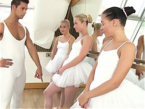 Ballet teacher in love with his youthful pupils Cayla A, Evelyn Dellai & Vinna Reed
