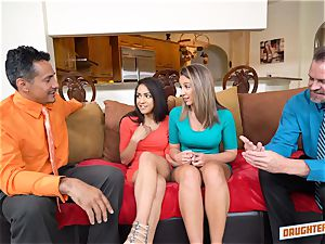 Nicole Bexley and Layla London are helped out by their fathers