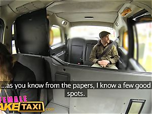 female fake cab nervous farmer can't please driver