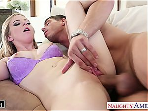 Ravishing Penny Pax glides his rigid beef whistle inbetween her cunny lips