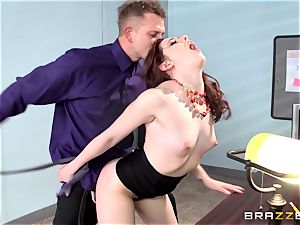 crimson steaming secretary Ember Stone disciplined by her chief