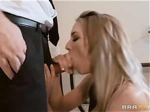 Aiden Ashley spitting on a immense cock