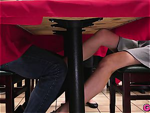 Melissa Moore gets a spunk-pump kebab under the table at the local food joint