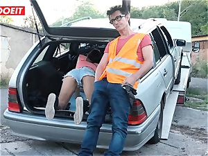 LETSDOEIT - nubile penetrates elderly fellow For Free Car Repair