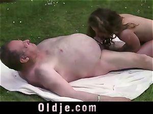 brute elderly man is rooting nice teenage damsel