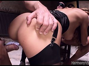 wild bitch gets her holes ravaged firm in a three way