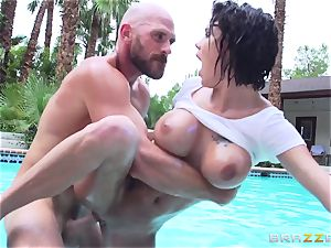 big-titted Peta Jensen - messy bang-out by the pool