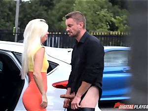 Jessie Volt likes public lovemaking and to gag on prick
