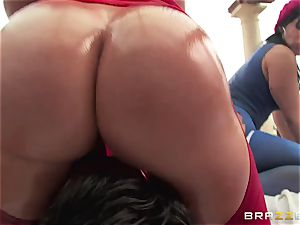 buttfuck hookup with 3 naughty enormous butt tarts Krissy Lynn, Nikki Delano and Rose Monroe