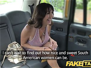 faux taxi uber-sexy cougar with large mounds does rectal