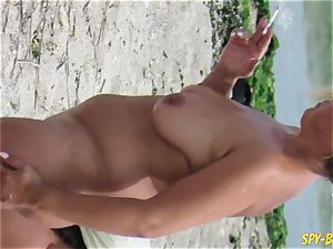 romp On The Beach - fledgling naturist spycam cougars