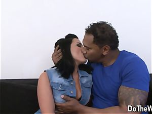 dark-haired wifey Tiffany takes fat ebony rod in her butt