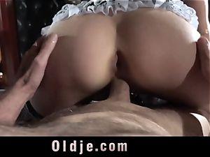 Step parent Caught poking The Maid
