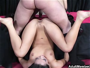 successful guy three-way with asian dominas