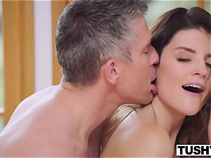 TUSHY big-titted black-haired Gets Her arse predominated By boss
