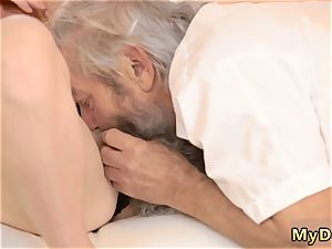 older and huge grandmother sudden practice with an senior gent