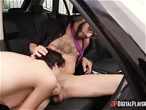 suspended driving schoolteacher deep throated off by Cadey Mercury