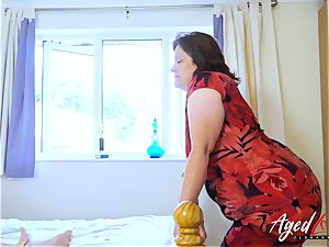 AgedLovE buxomy Mature frolicking rigid with convenient stud
