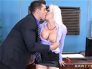 crazy office woman Holly Heart pulverizing across the office desk