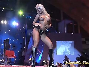pussy-smothering on public hookup fair show stage