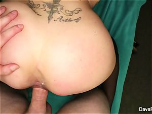 black-haired bombshell Dava gets plumbed point of view style