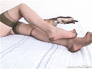 light-haired milf slips of undies stilettos boinks plaything in nylons