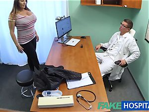 FakeHospital babe wants jism all over her massive hefty fun bags