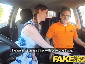 fake Driving college Nerdy sandy-haired nubile schoolgirl