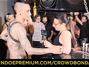 CROWD restrain bondage - Silicone mammories towheaded wild public sex