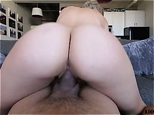 Short-haired blondie stepsister rails dick like a bi-atch