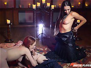 jizm gulping threesome with sexy Ella Hughes and stellar stunner Mea Melone