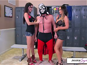 Jessica and Nikki take giant boner in their wet slots