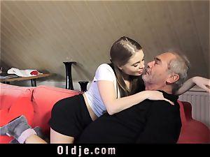 Russian gal blow The man rod of an elderly grandpa