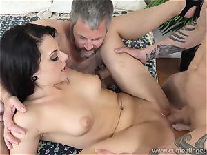Megan Sages hubby jerks lil' manstick As She Gets boned
