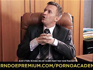 pornography ACADEMIE - Lusty secretary ass fucking 3 way hump