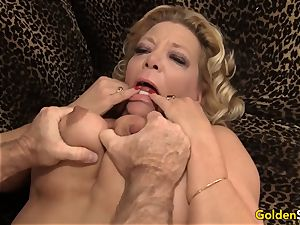 grandmother takes a ginormous prick and jizm in her gullet