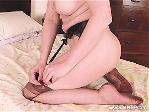 torrid mummy fuck sticks fucktoy to orgasm in stocking suspenders