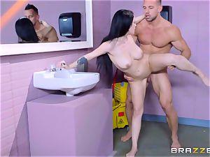 inviting toilet pounding for blistering dark-haired Noelle Easton