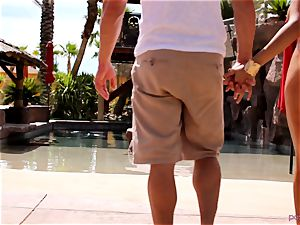 Anissa Kate strip her bathing suit to boink poolside