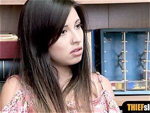 sizzling latina teenage shoplifter splattered and gets pounded rock-hard